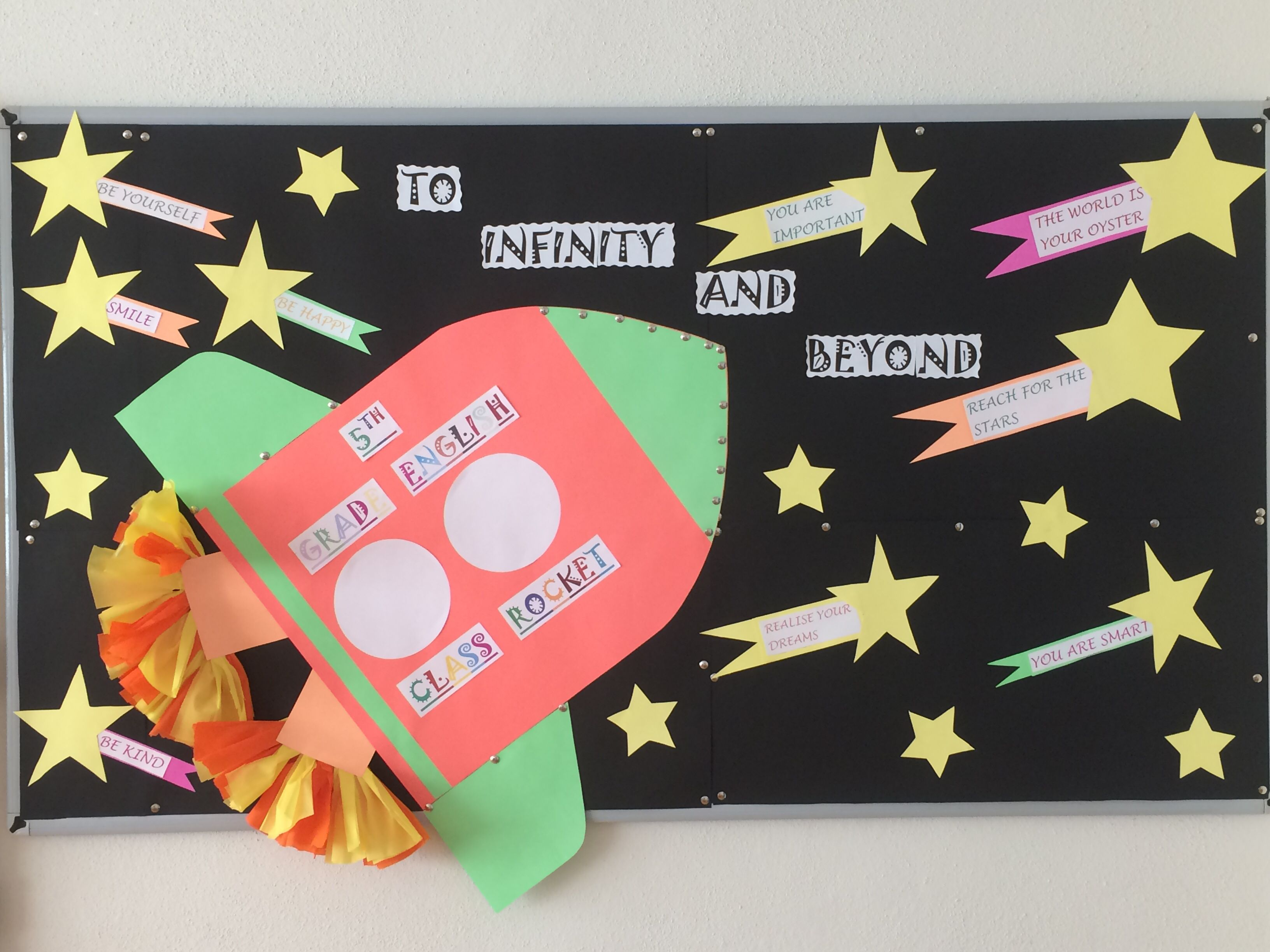 To infinity and beyond. 5th grade. English bulletin boards
