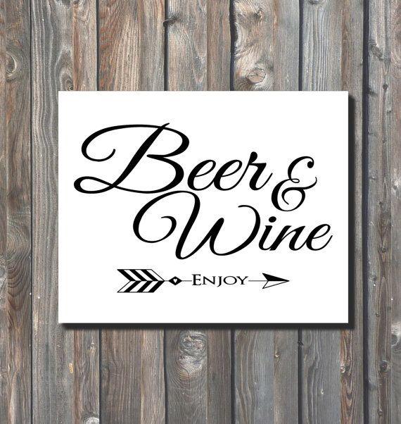 Printable wedding beer and wine sign drinks