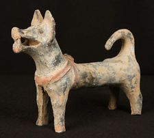 ANTIQUE CHINESE OLD HAN DYNASTY POTTERY DOG BURIAL FIGURE ANCIENT STATUE ANIMAL