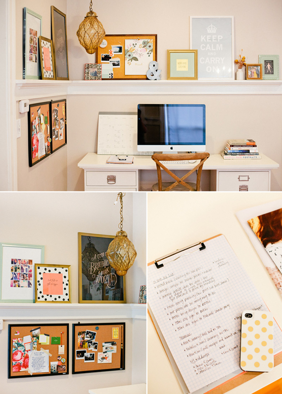 I'm loving this office space. Especially all the cute frames with polka-dot mats!