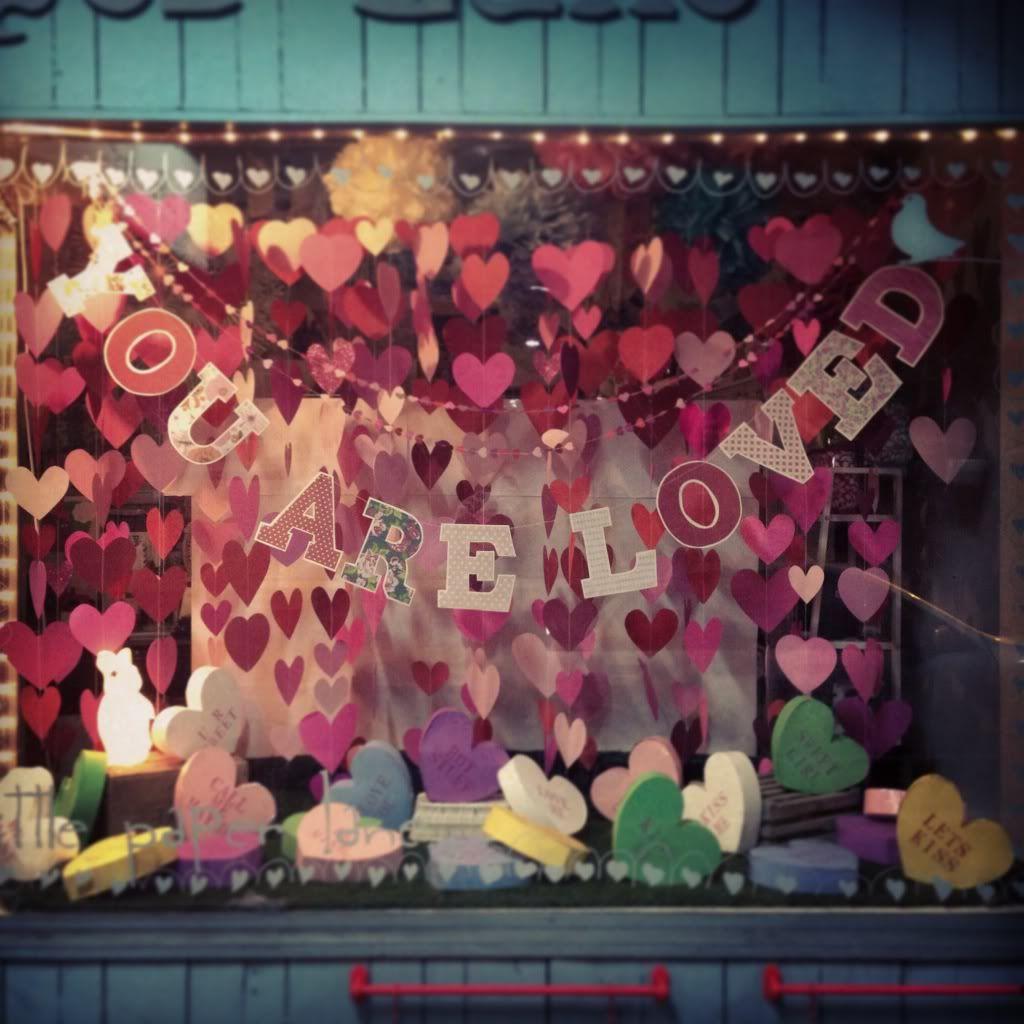 Candy inspired Valentines Day window. #merchandising ideas