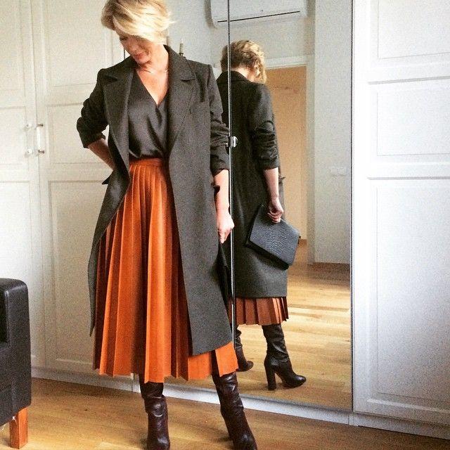 Jesien Bymalenebirger Aquazzura Lebrand Fashion Outfits Midi Skirt