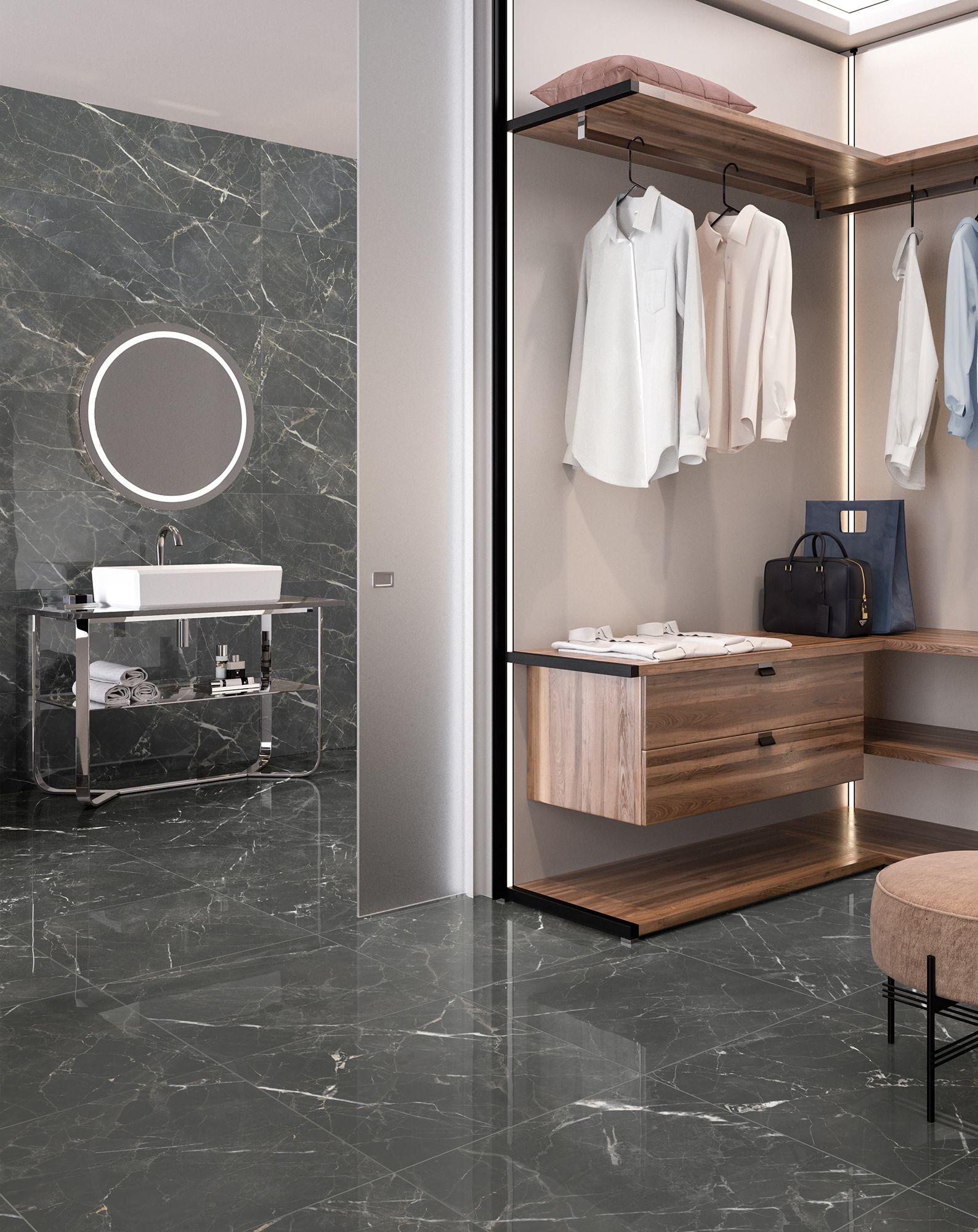 Dark Marble Look Porcelain Tile In A Bathroom Walk In Closet Combo Black Marble Tile Dream Bathrooms Grey Marble Floor
