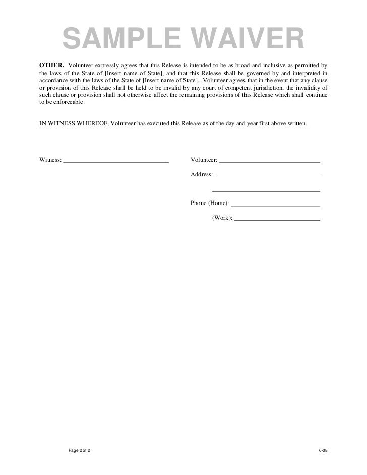 Printable Sample Liability Waiver Form Template Form Laywers - contract release form
