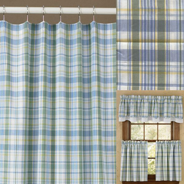 Sarasota Blue and Green Plaid Shower Curtain by Park Designs ...