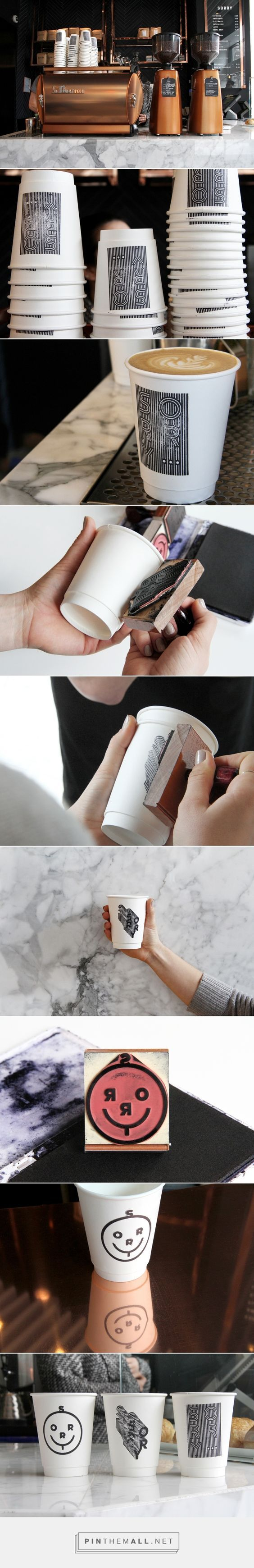 Art direction, branding and packaging design for Sorry Coffee Co on Behance by Ben Johnston Toronto, Ontario curated by Packaging Diva PD. Clever stamp designs for Kit & Ace's Sorry Coffee Co in Toronto Photography by Warren Keefe.: