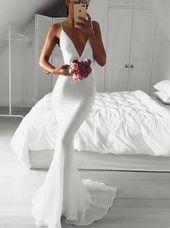 Mermaid Spaghetti Straps Sweep Train White Prom Evening Dress Mermaid Spaghetti Straps Sweep Train White Prom Evening Dress