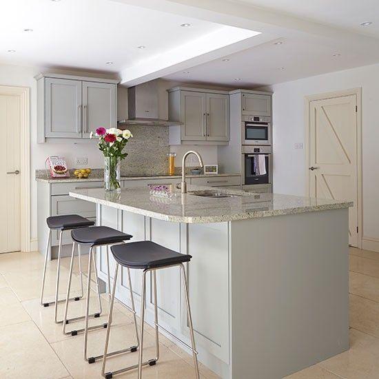 Grey Kitchen With Breakfast Bar
