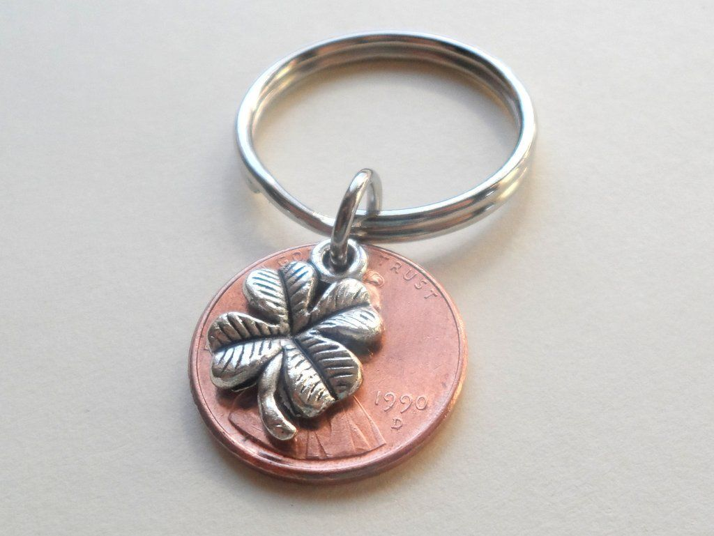Clover charm layered over penny keychain anniversary gift