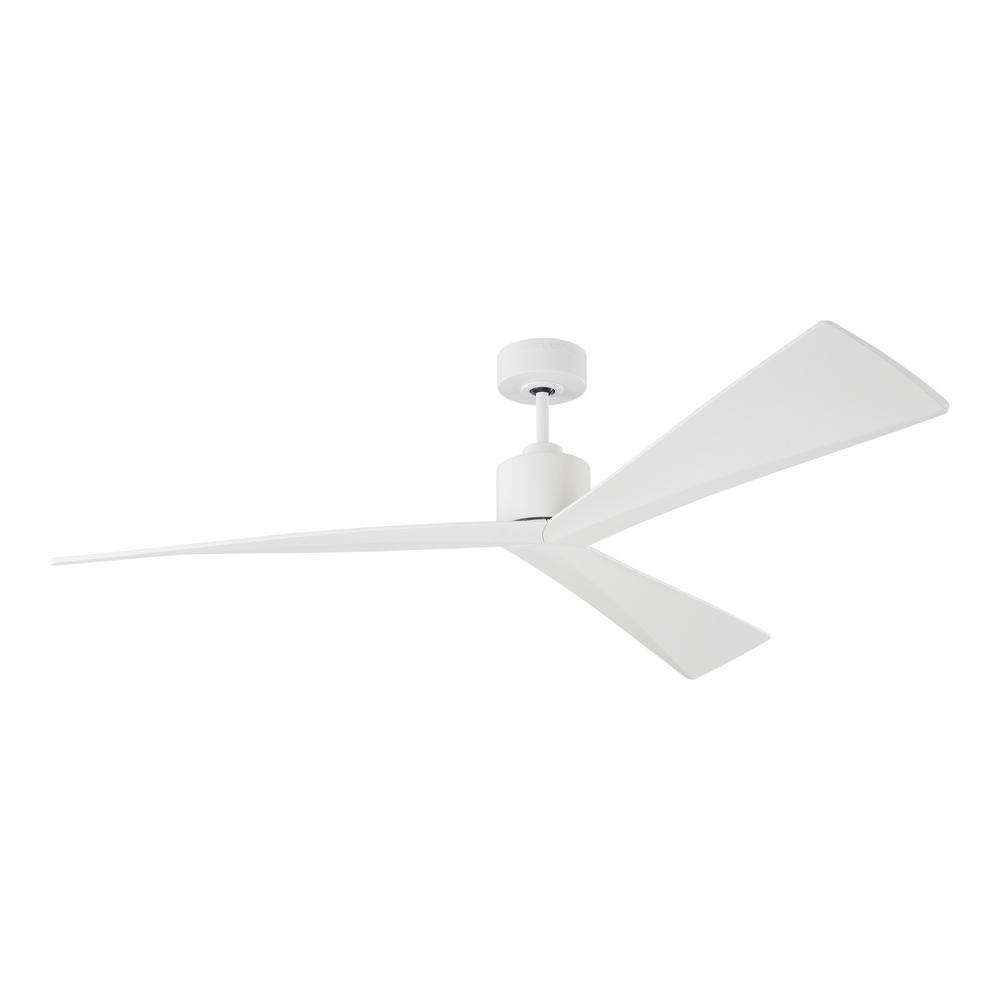 Monte Carlo Adler 60 In Matte White Ceiling Fan With Sloped White Blades Dc Motor And 6 Speed Remote Control 3adr60rzw The Home Depot White Ceiling Fan Ceiling Fan Ceiling Fans Without Lights