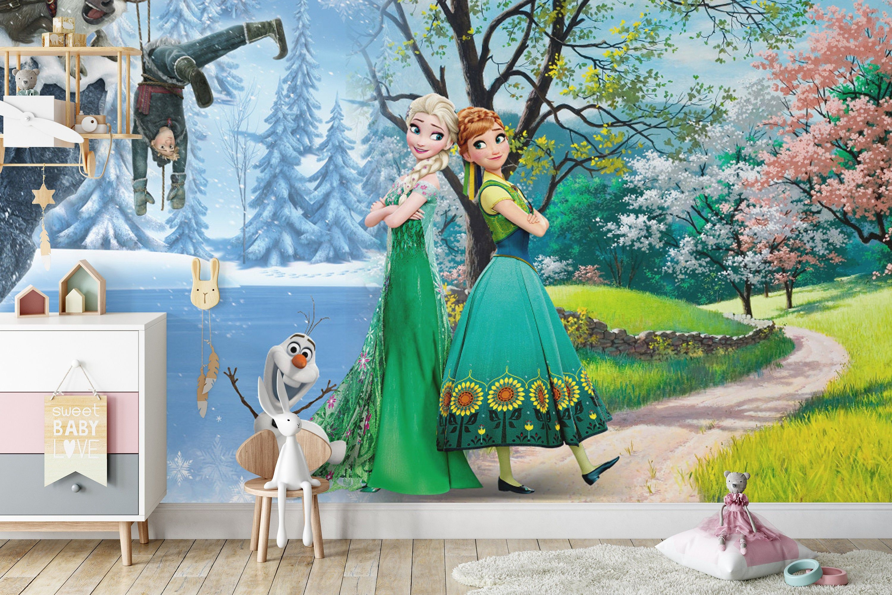 3 FROZEN Pictures Elsa Olaf Anna Set of 3 Wall Hangings Girls Bedroom Decor