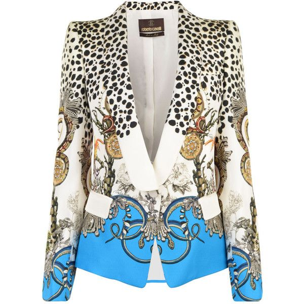 ROBERTO CAVALLI Silk Coral Dots Jacket ($1,930) ❤ liked on Polyvore