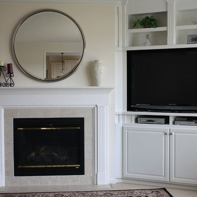 Built Ins With Tv Beside Fireplace With Room For Dvd And Cable