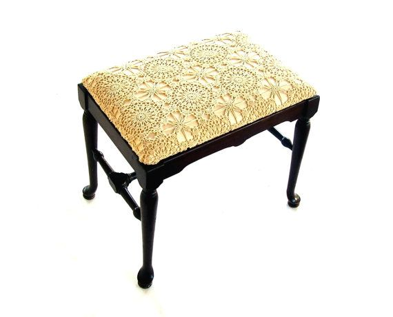 il_570xN.810606784_t1w4.jpg (570×460) Antique Bedroom Furniture, Antique  Decor - Antique Vanity Bench Vintage Wooden Stool Ecru Crochet Upholstered