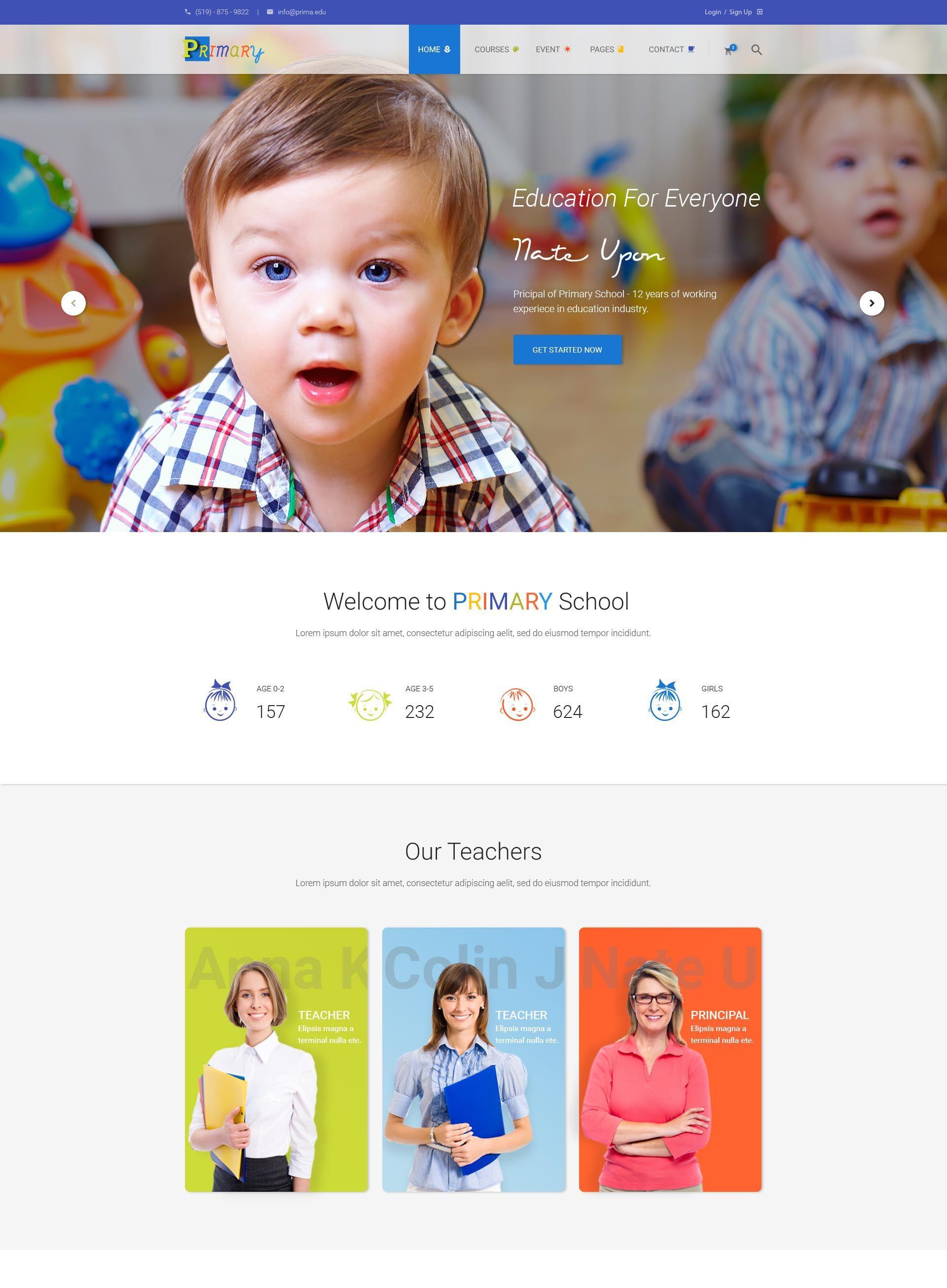 Primary – Kids & Kindergarten School HTML Template | Template