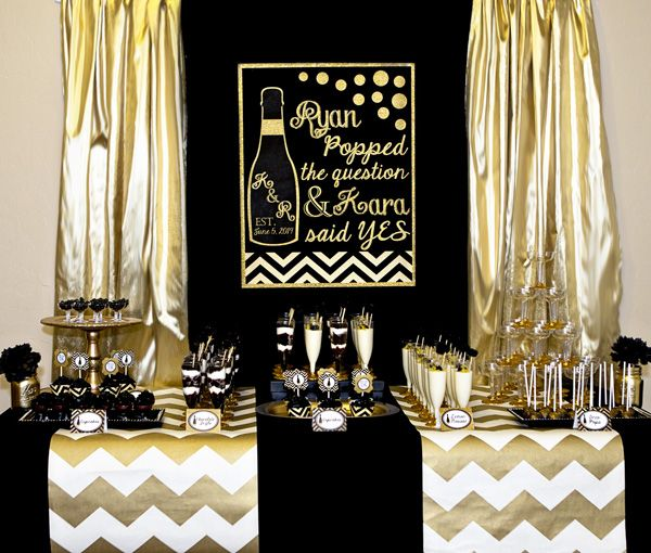 Gold and black bridal shower he popped the question and for Yes decoration
