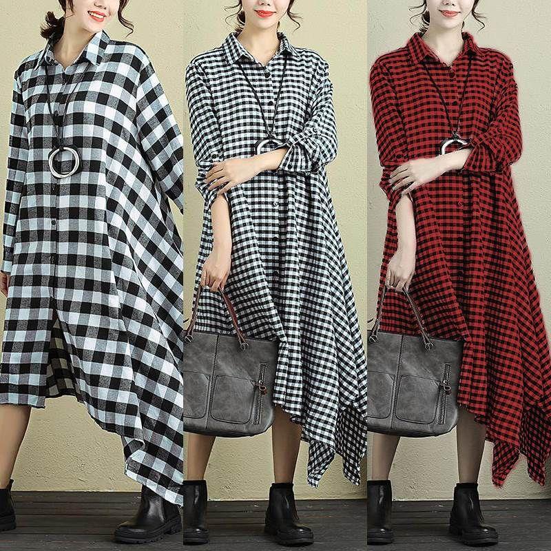 6e4babc0 Aliexpress.com : Buy Zanzea Women Casual Loose Long Sleeve Knee Length  Irregular Hem Checked Plaid Shirt Dress Female Vintage Office Oversized  Dress from ...