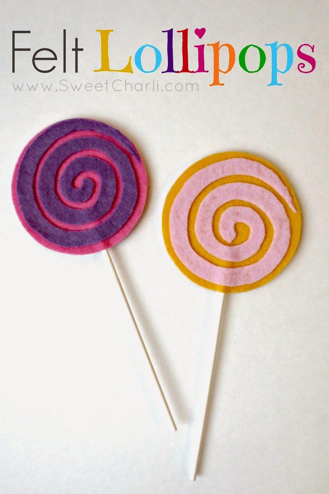Diy No Sew Felt Lollipops For Pretend Play Feltfood Lollipops