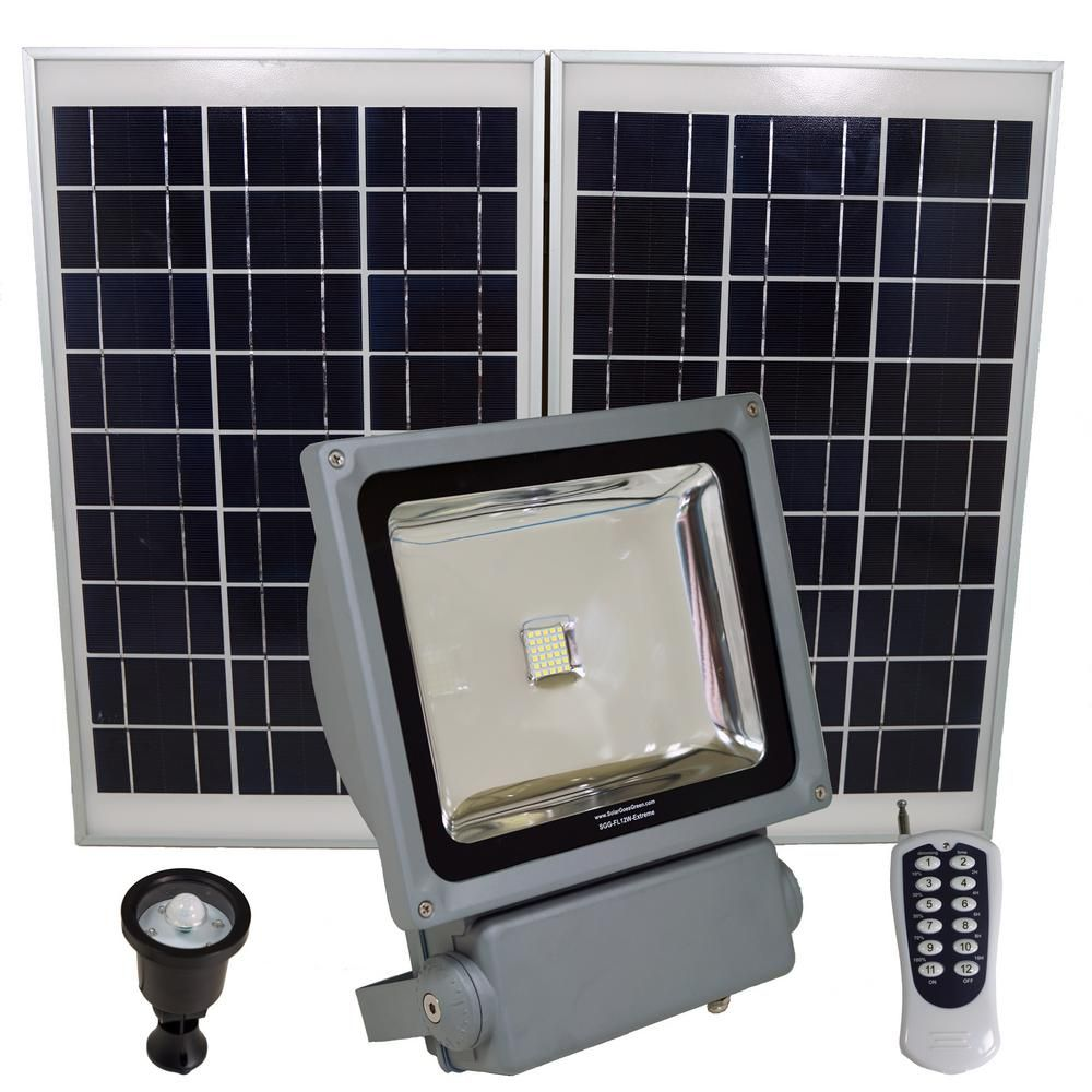 Solar Goes Green 350 Watt Super Bright 30 Motion Activated Grey Outdoor Integrated Led Solar Power Flood Security Flood Light Remote Sgg Fl12w Extreme Solar Flood Lights Solar Led Solar Powered Flood Lights