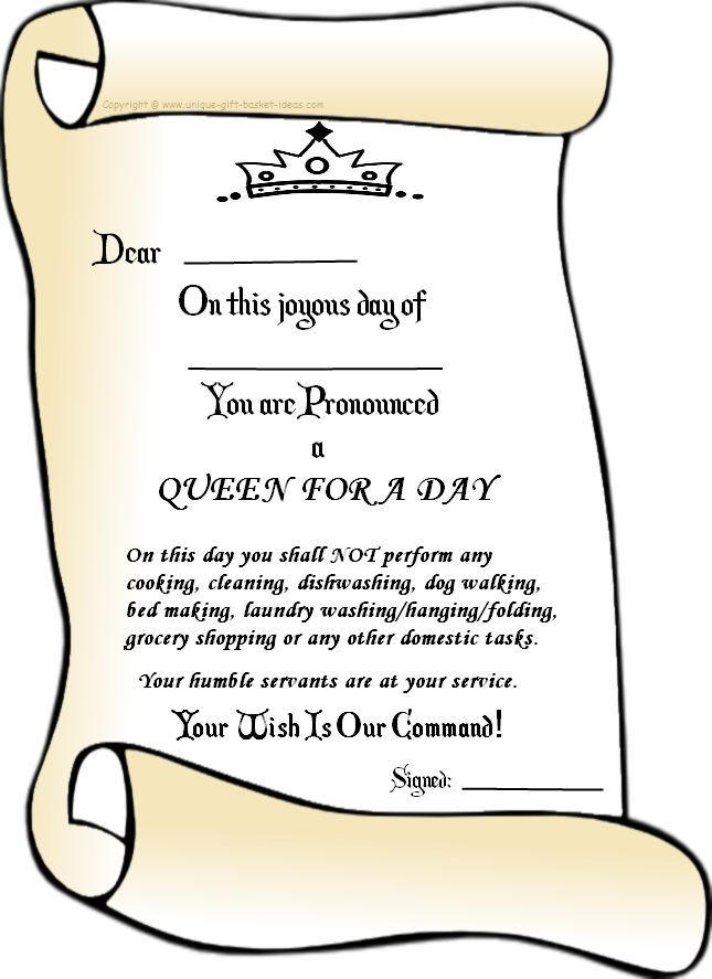 Queen For A Day Ideas  Queen For A Day Certificate  This