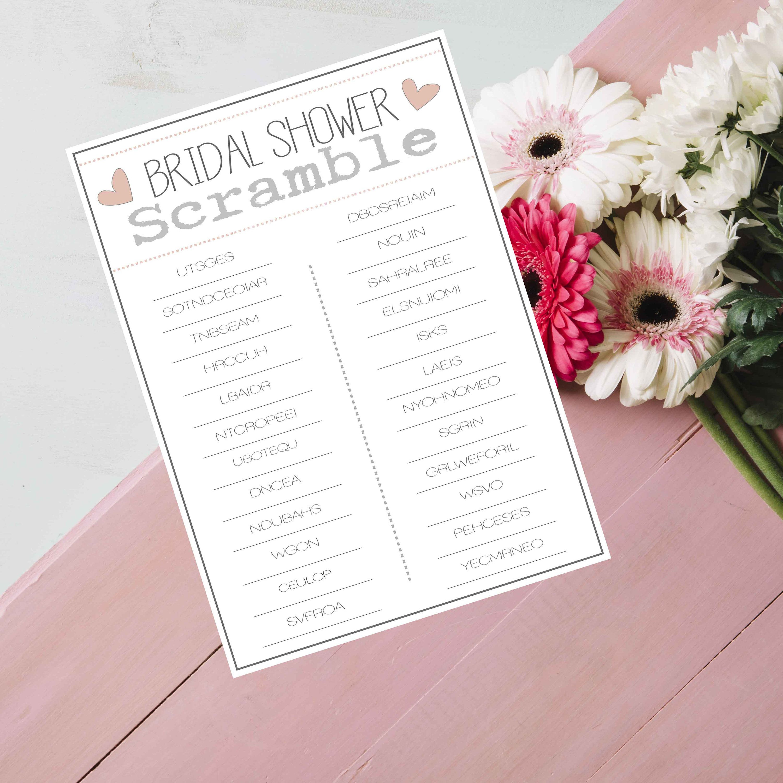Bridal Shower Word Scramble Printable Bridal Shower Game
