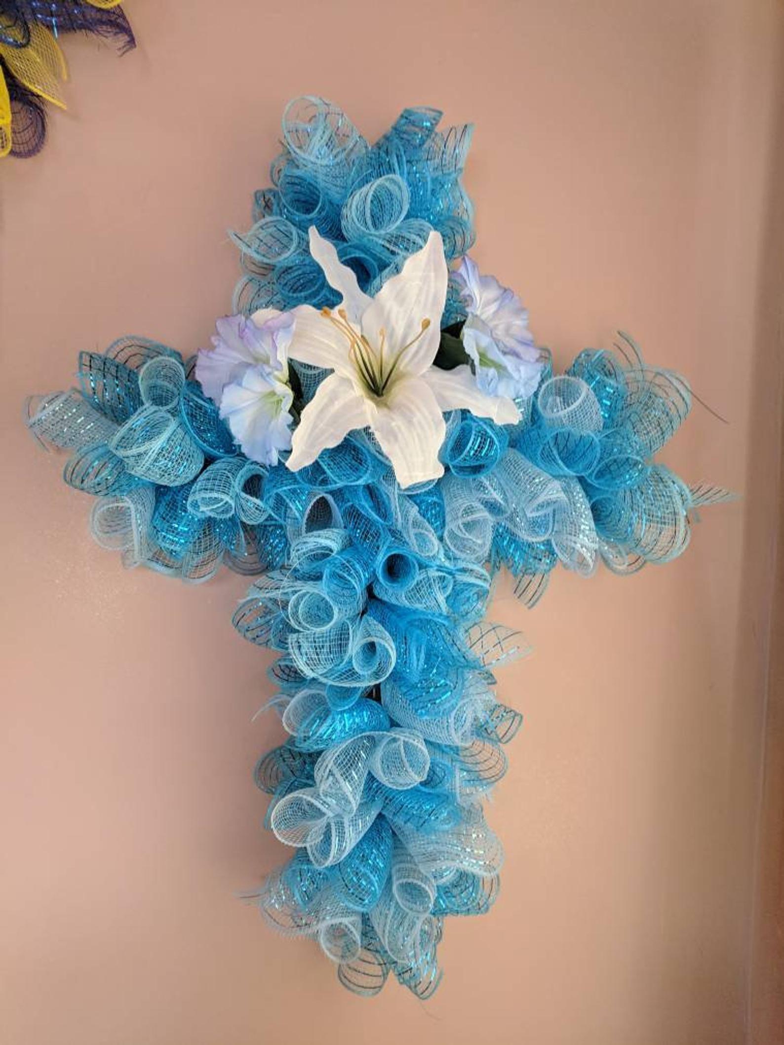 Easter cross wreatheaster wreathcross wreath blue wall