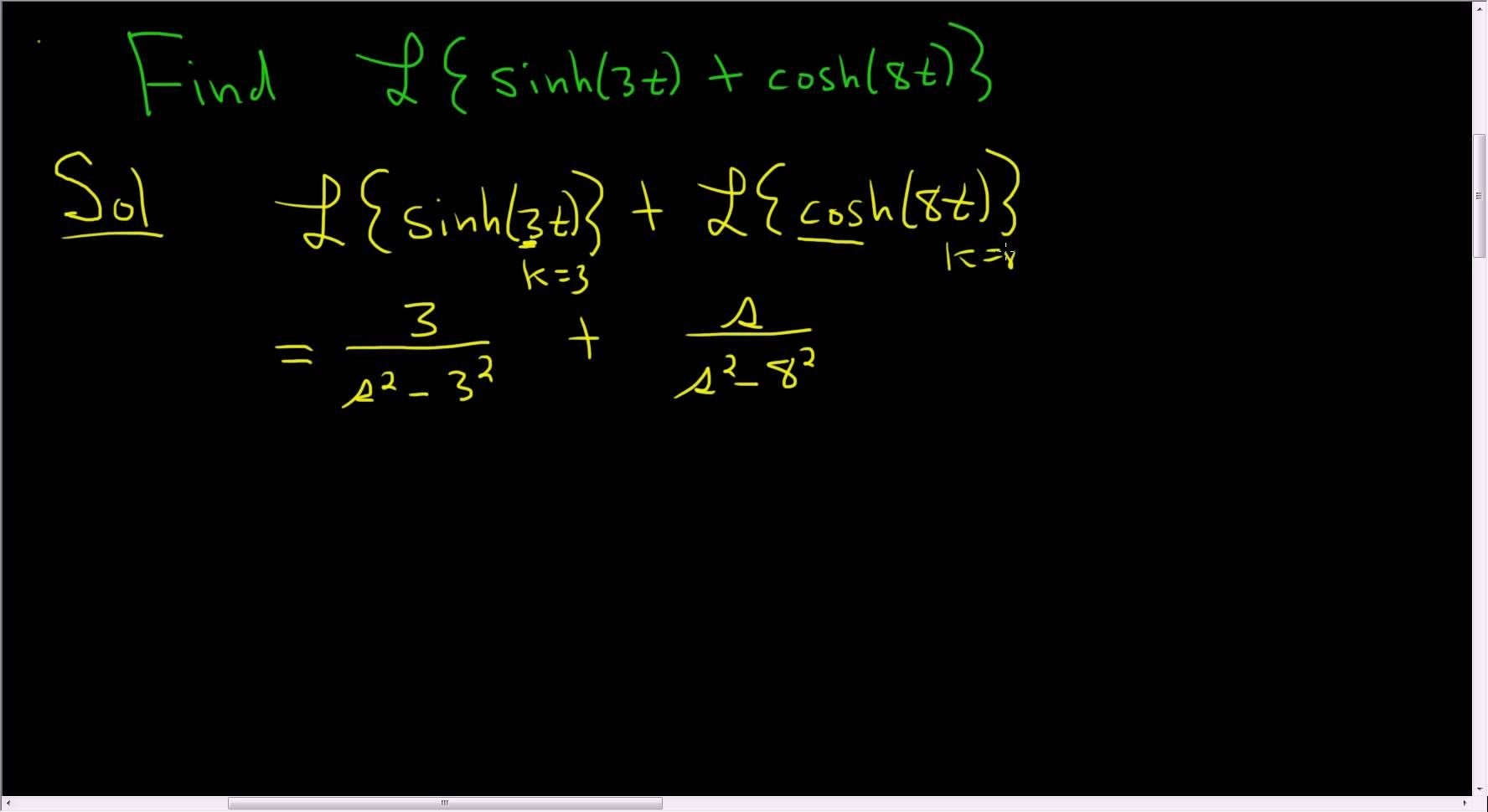 Finding The Laplace Transform Of F T Sinh 3t Cosh 8t Laplace Transform Laplace Math Videos
