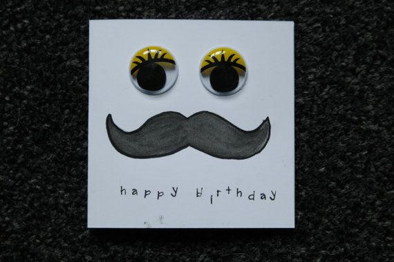 Googly Eyed Moustache birthday card by PhoebeHolmes on Etsy, £1.70