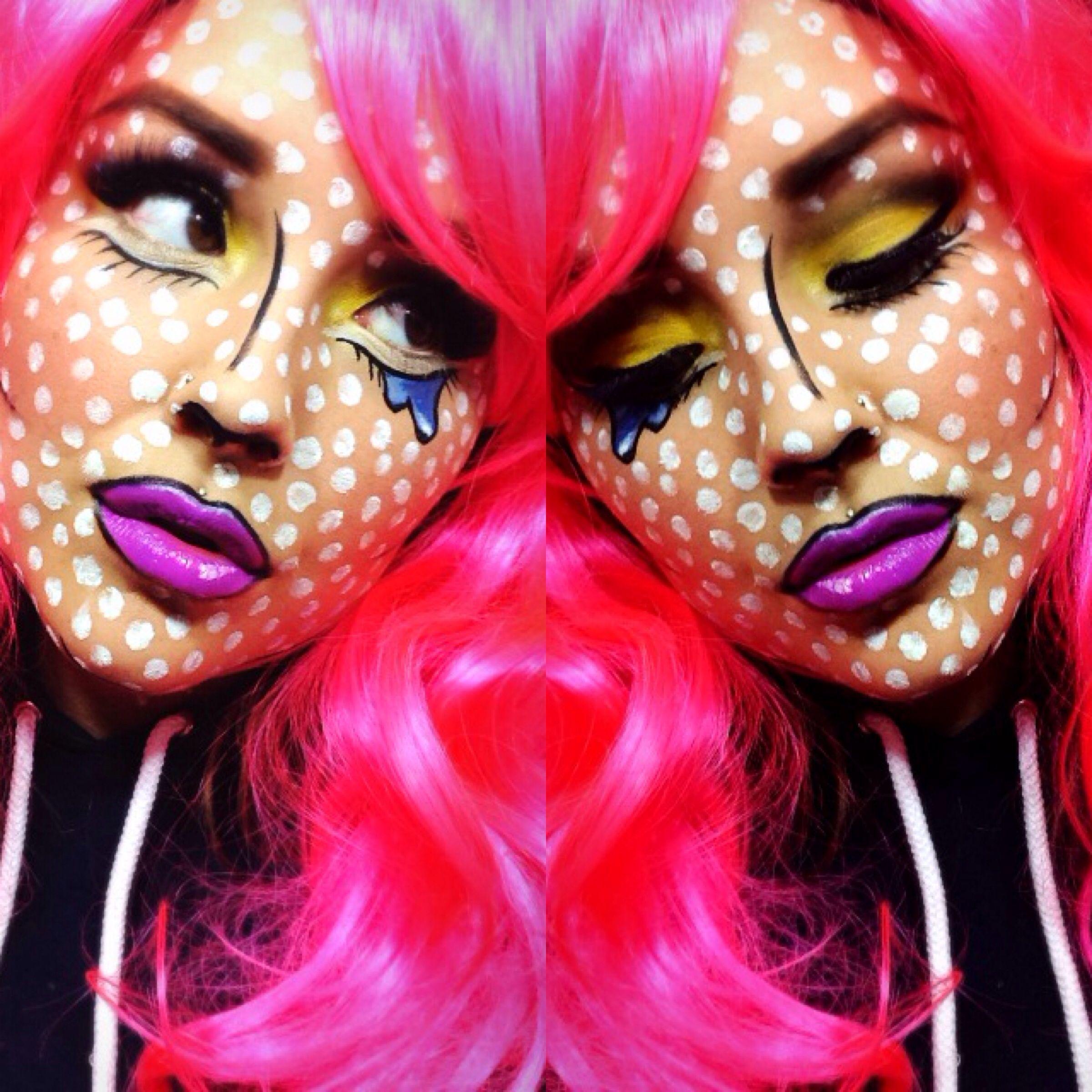 Pin By Christy Hudson On Halloween Comic Book Makeup Pop Art Makeup Pop Art Costume