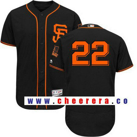 Men's San Francisco Giants #22 Christian Arroyo No Name Black Alternate Stitched MLB 2017 Majestic Flex Base Jersey