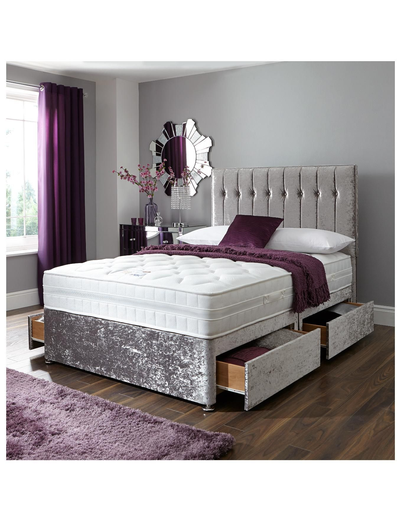 Sweet Dreams Sheba Cushed Velvet Divanstead With Headboard - Verycouk