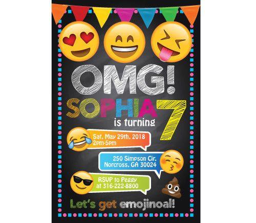 5bd22714935b9 Emoji Personalized Custom Birthday Party Digital Invitation Printable Emojis