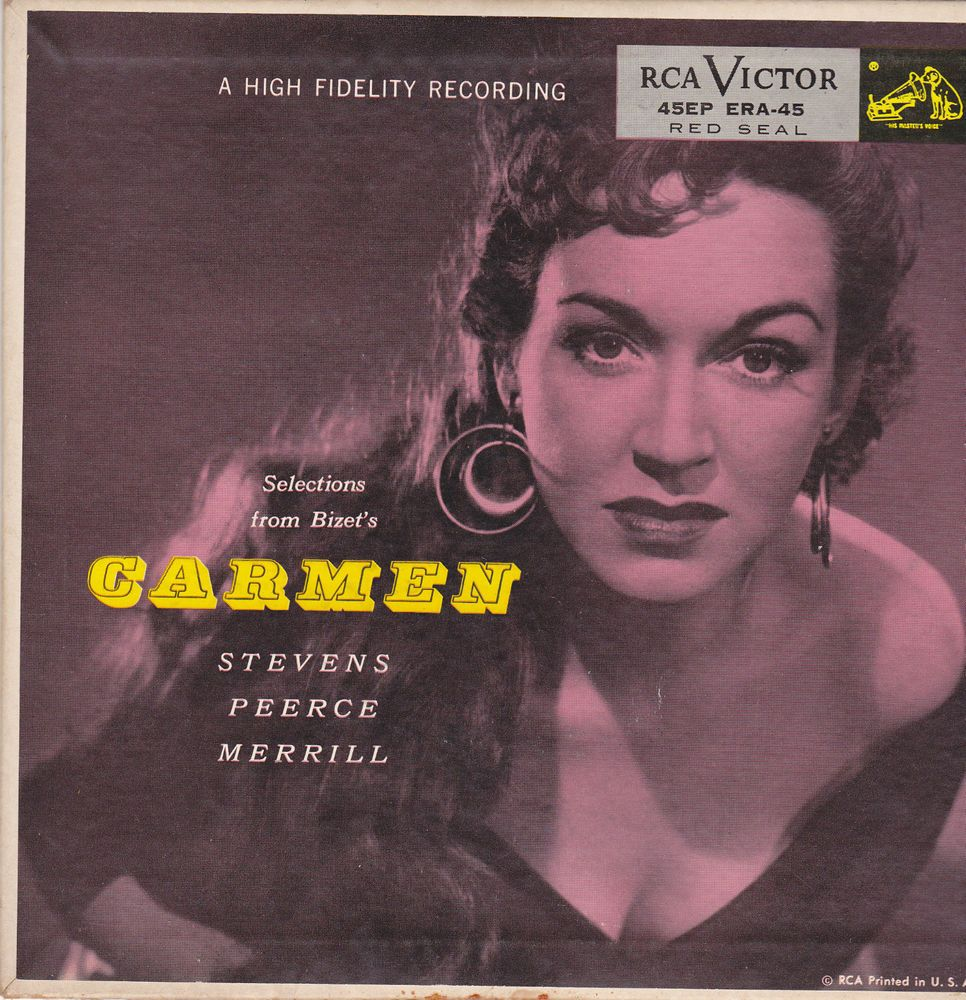 "Bizet Carmen / Rise Stevens / Jan Peerce / Fritz Reiner / Robert Shaw / 7"" Vinyl 45 Record & Picture Sleeve #Classical"
