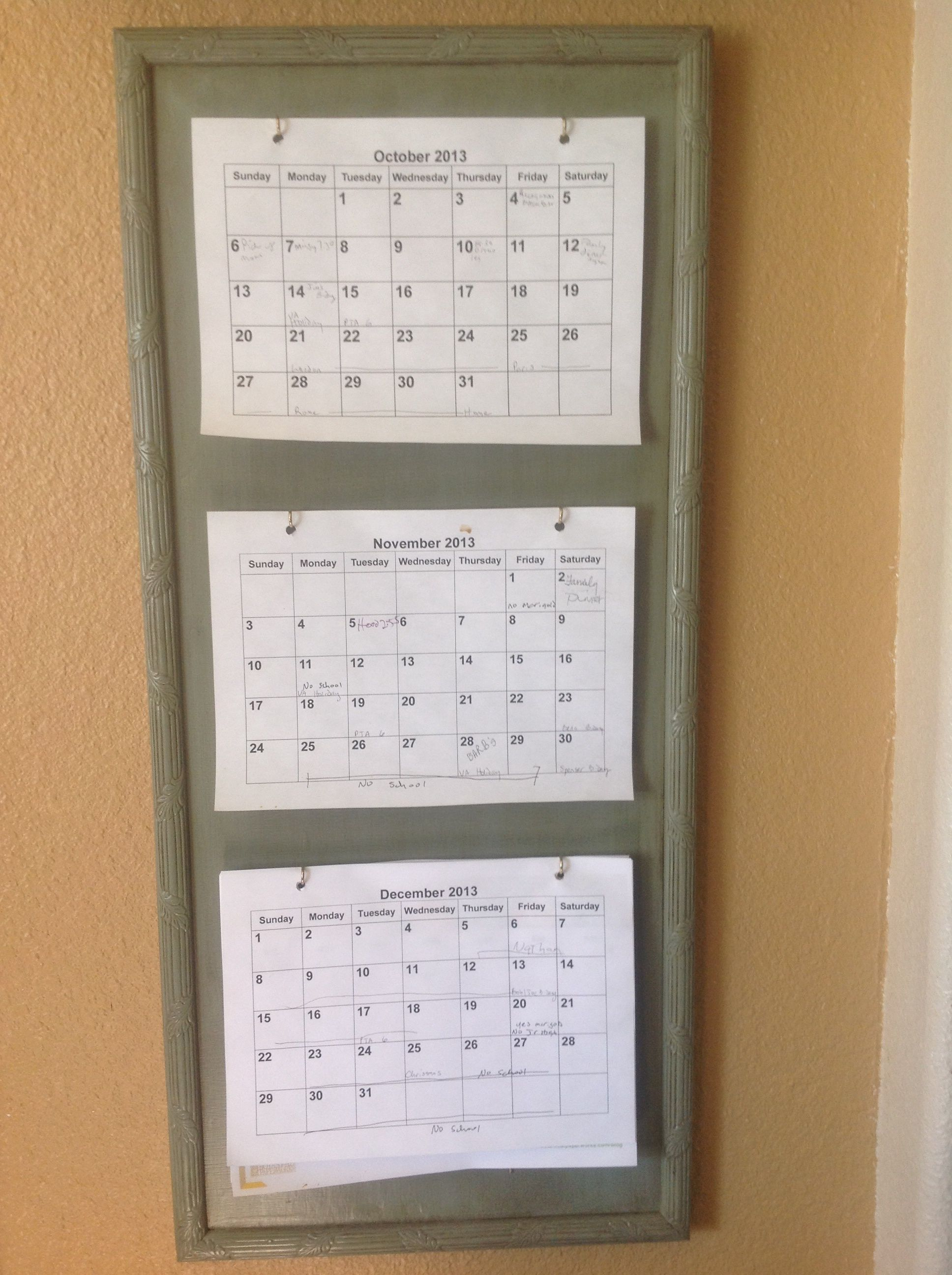 3 month calendar holder DIY - great for planning and organizing ...