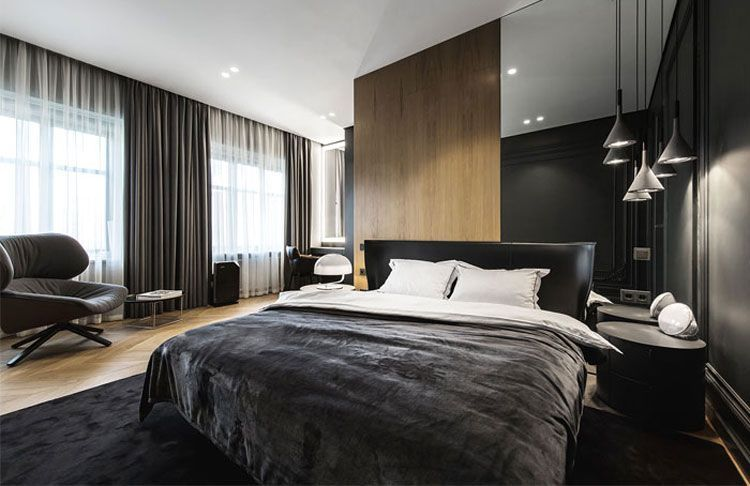 Minimalist Bedroom With Accent Chair And Modern Bedding Best Men S Bedroom Ideas Cool Masculine Bedr Home Decor Bedroom Modern Mens Bedroom Furniture Design