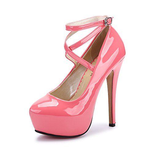 8bffdac4d67c OCHENTA Femme Escarpins Bride Cheville Sexy Talon Aiguille Plateforme Epais  Fermeture Lacets Chaussures Club Soiree PU Peach Red 37