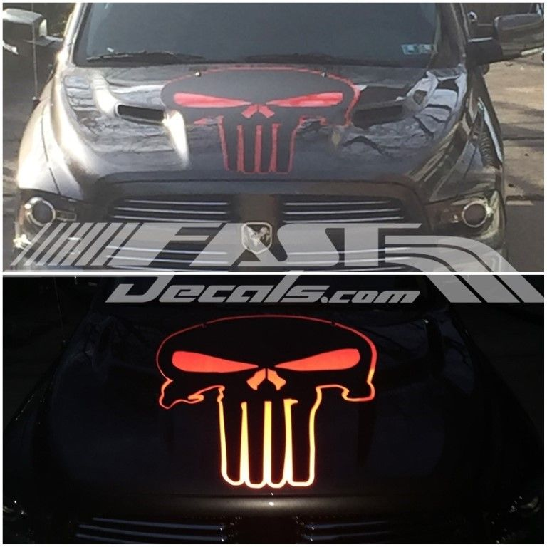 Reflective Punisher decal.  http://www.fastdecals.com/shop/punisher #punisher #reflectivedecals #ram #punisherdecals #fastdecals