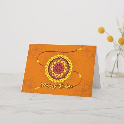 Happy Raksha Bandhan, orange, yellow wristband Card | Zazzle.com