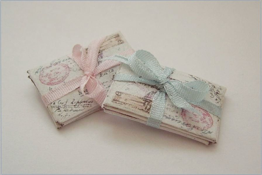 Miniature Silk ribbon PINK tied letters.