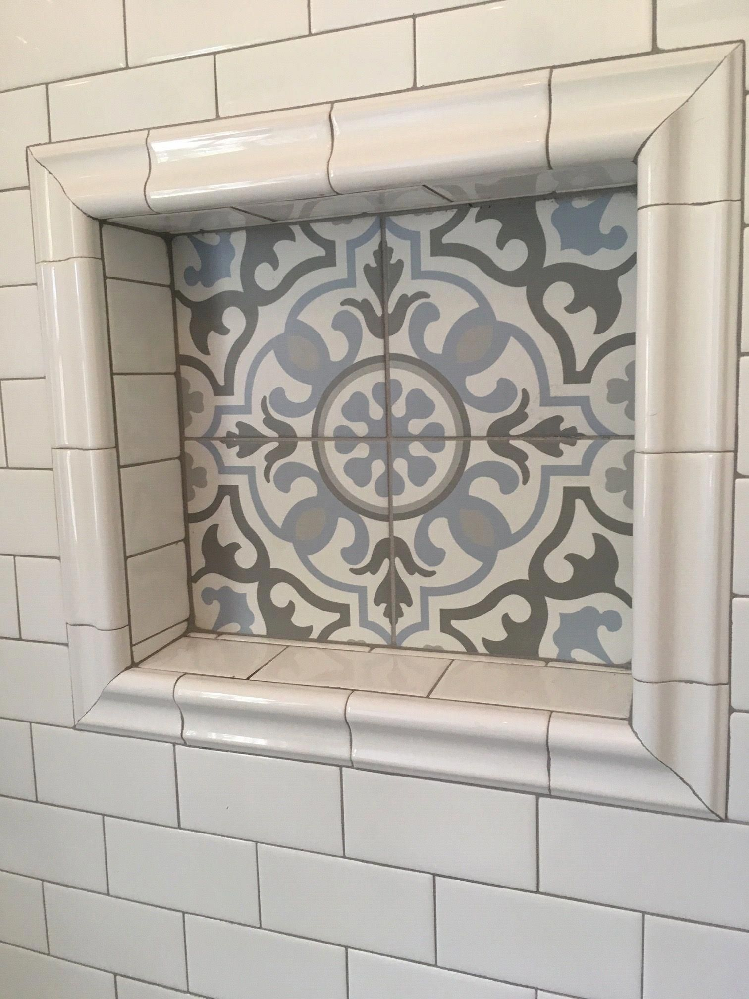 Blume Encaustic Tile Nook With Daltile White Subway Tile And Chair Rail Frame From Home Depot Bathr In 2020 Bathtub Tile Encaustic Tiles Bathroom Diy Bathroom Remodel