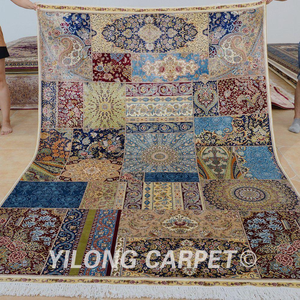 Yilong Handmade Silk Rug Clic Patchwork Design Persian Handwoven Floor Carpet Feet By 9 Multi 0291