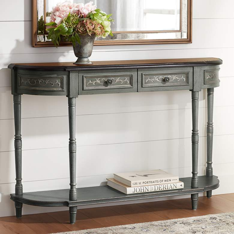 Markham 52 1 2 Wide Gray Brown 2 Drawer Console Table 1f883 Lamps Plus Console Table Console Table Decorating Traditional Console Tables