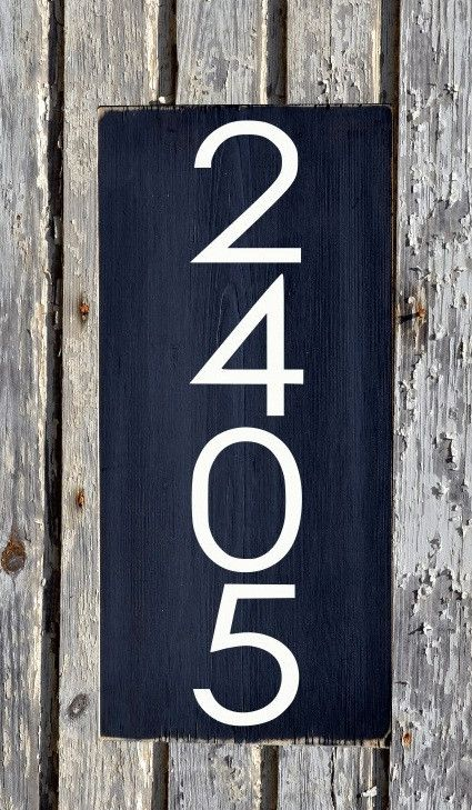 Address Modern House Numbers Sign Unique Mid Century Custom Wood
