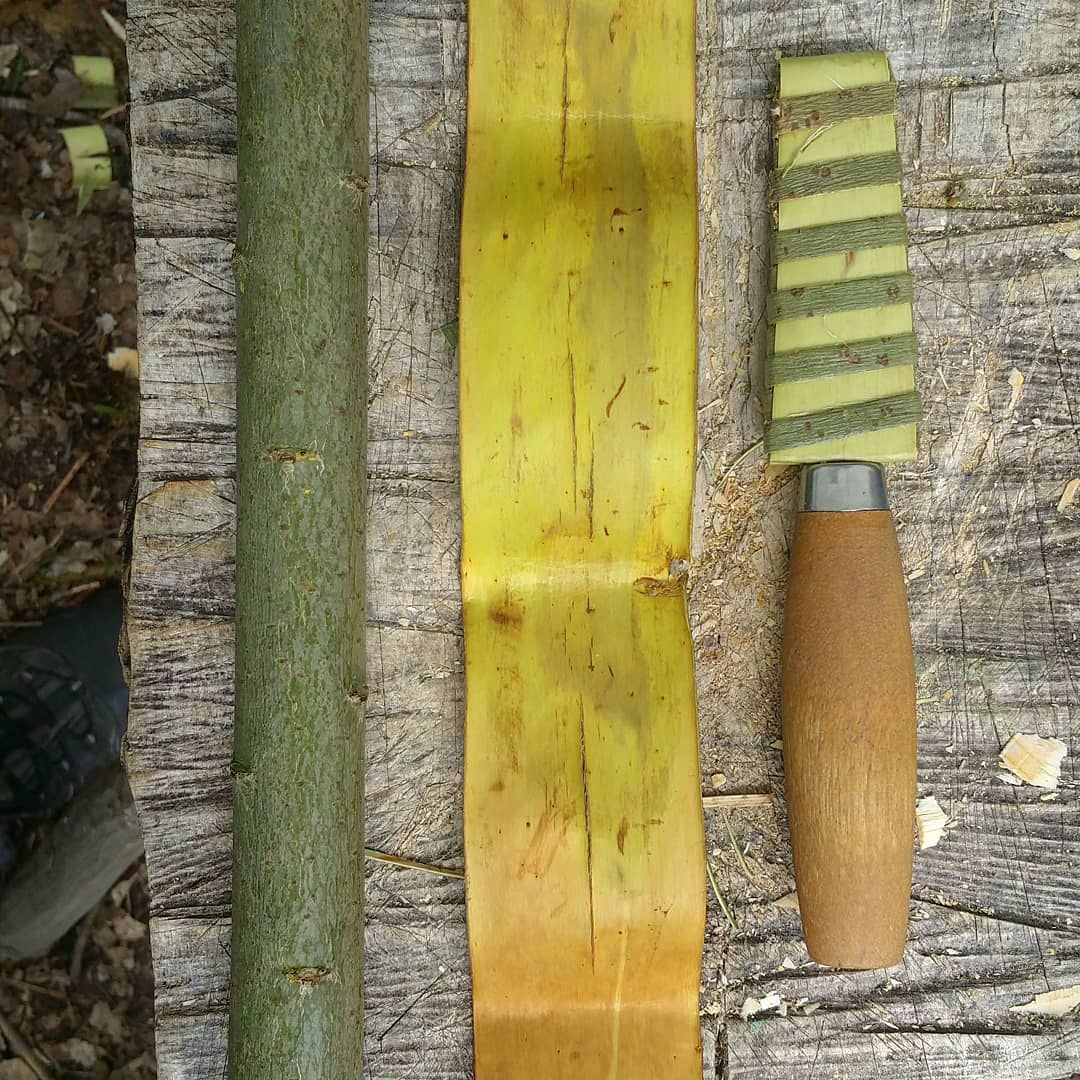 Knife Sheath In Fresh Willow Bark Woven To Fit The Mora Knife