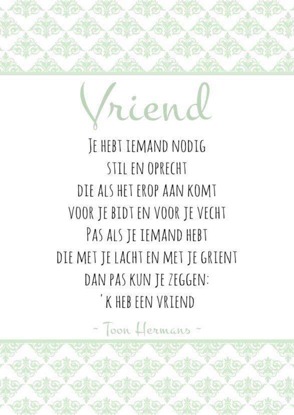 Geliefde Mint/witte kaart met een gedicht van Toon Hermans over vriendschap  RK79