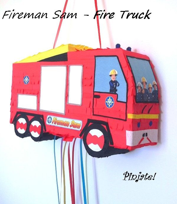 fireman sam fire truck pinata by pinjatenovisad on etsy pinata rh pinterest com