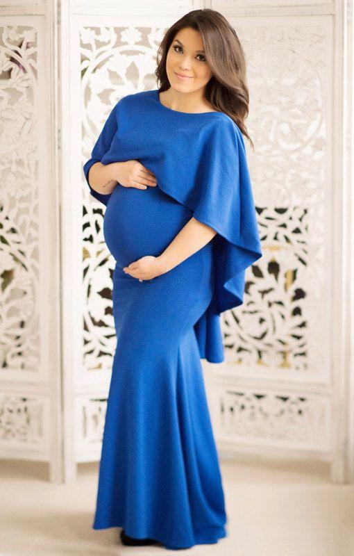 Maternity Dress With Cape Navy Blue Photography Photoshoot Pregnancy Photo  Shoot Wedding Open Back Long Maxi