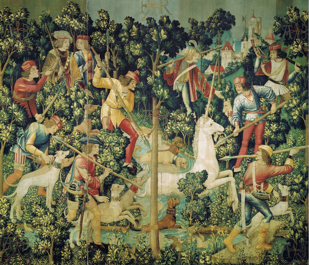 FLEMISH TAPISTRIES ca. 1495 / 1505 - THE HUNT FOR THE UNICORN : 3) The unicorn tries to escape
