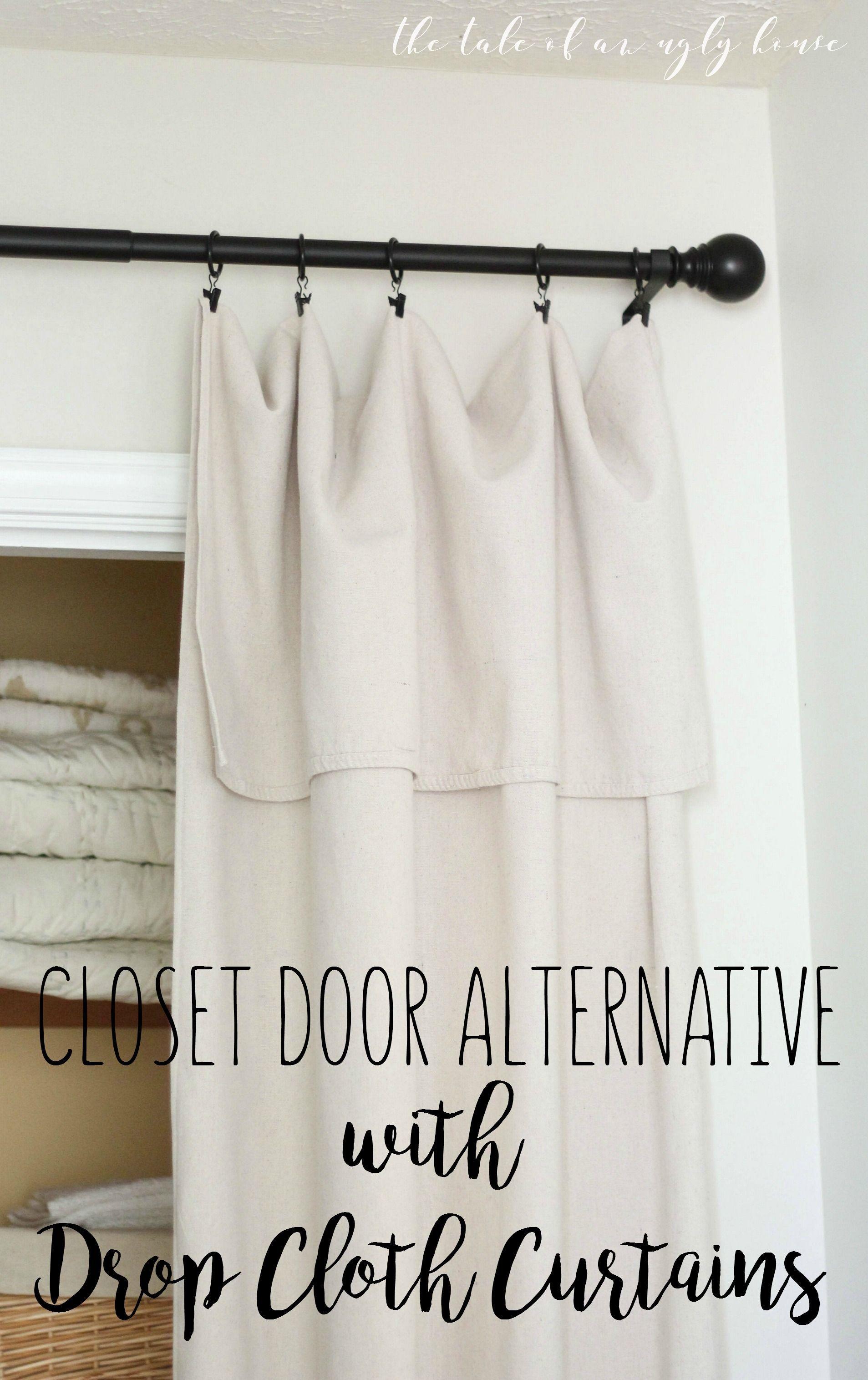 DIY closet door alternative with drop cloth curtains Easy and super