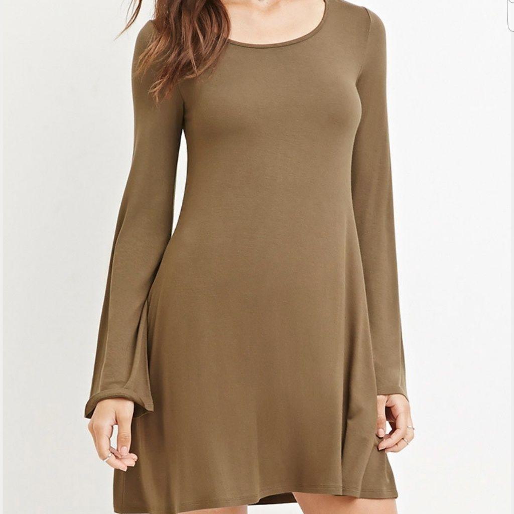 Long dark green dress  Olive Green Long Sleeve Dress  Green long sleeve dress and Products